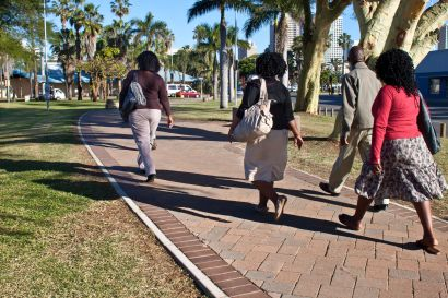 pedestrians make use of the new paths in Durban: pic by Luke Reid