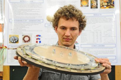 Hartmut Jagau with the generator he designed using magnets from discarded hard drives
