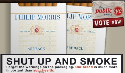 philip morris: named and shamed in Greenpeace's Private Eye awards